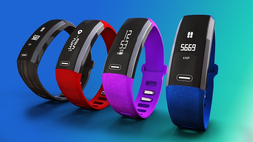 Vier Fitness Tracker und Fitness Armband Modelle