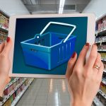 Supermarkt Auswahl am Handy/Tablet